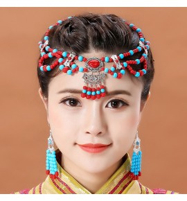 Women's girls minority Mongolian robes dance movies cosplay beads head chain and earring Mongolia photos headdress