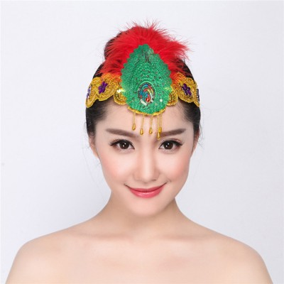 Women's  girls modern dance feather headdress classical ancient traditional square dance fairy drama style dance hair accessories