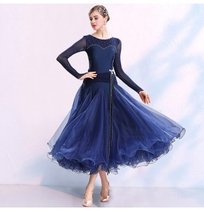 Women's girls navy black red colored competition stage performance ballroom dancing dresses waltz tango flamenco dresses