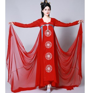 Women's girls red hanfu fairy empress chinese folk dance dresses traditional queen drama cosplay kimono photos performance dresses