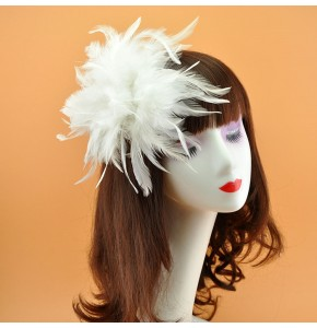 Women's girls stage performance feather headdress bridal model jazz singers host cosplay hair clip brooch