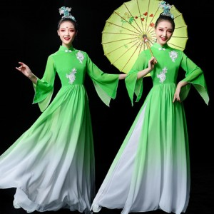 Women's green gradient colored chinese folk dance costumes fairy umbrella classical stage performance fan dance dresses