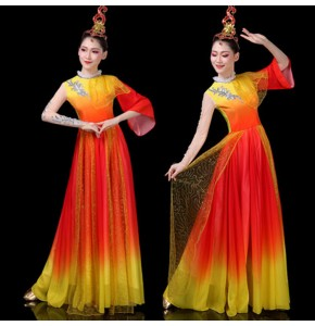 Women's hanfu chinese folk dance costumes red with yellow gradient colored drummer fairy fan umbrella classical dance dress