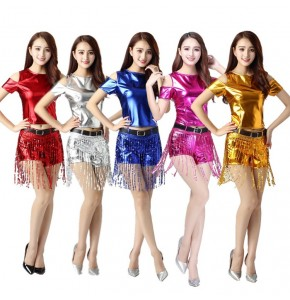 Women's hiphop dance costumes cheer leaders stage performance jazz singers lead dancers cosplay costumes tops and shorts