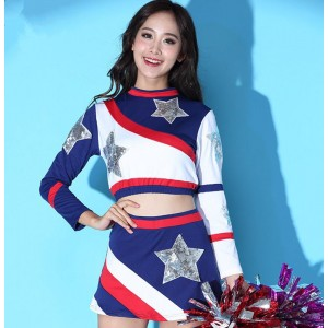Women's jazz dance costumes cheeleaders stage performance costumes aerobics stage performance tops and shorts
