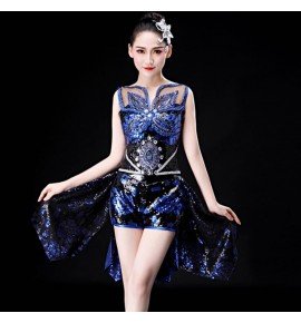 Women's jazz dance dresses for girls blue with black sequin modern dance  go go dancers night club singers stage performance outfits
