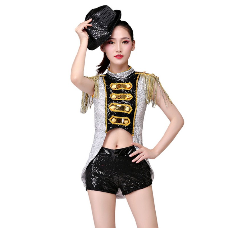 Details about  /Jitterbug and Jive GOLD Jazz Dance Costume Satin Jumpsuit and Top Child X-Large