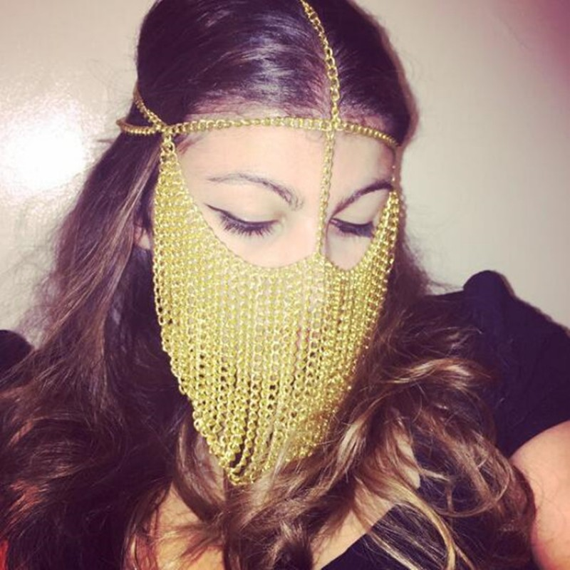 Women's king masquerade cosplay mask night club dj pole dance veil body  face chain mask