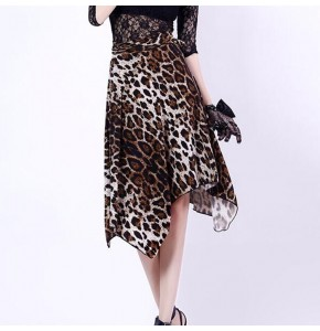 Women's latin dance skirts leopard purple royal blue black triangle hip scarf ballroom salsa chacha rumba stage performance wrap skirts
