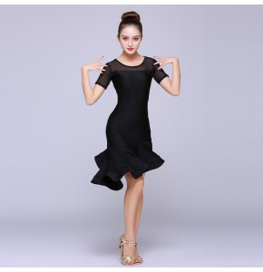Women's latin dresses chacha rumba dancing dresses ruffles skirts competition stage performance professional samba dancing dresses
