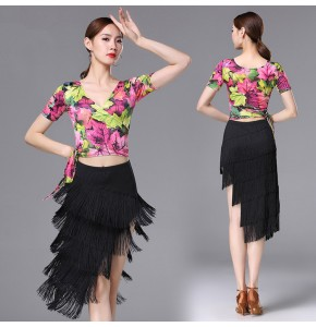 Women's latin dresses competition  floral stage performance professional latin salsa chacha rumba dance tops and fringes skirt