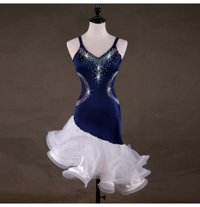 Women's latin dresses diamond stage performance white and navy ruffles skirts competition salsa rumba chacha dance dresses costumes