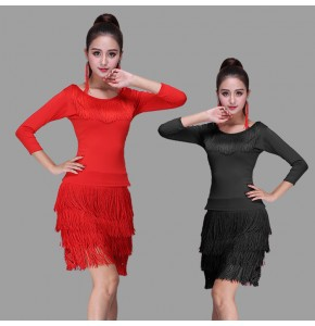 Women's latin dresses for female red black royal blue layers of tassels rumba samba chacha dancing tops and skirts