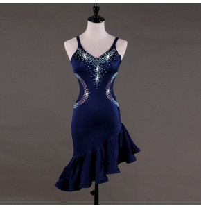 Women's latin dresses for girls navy blue ballroom dresses for female competition stage performance salsa chacha rumba dancing costumes