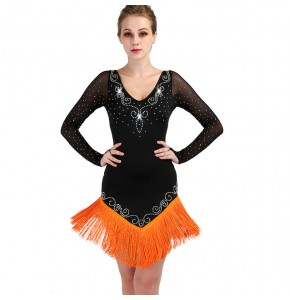 Women's latin salsa rumba dance dresses Black orange tassels diamond long sleeves stage performance professional ballroom dancing dress