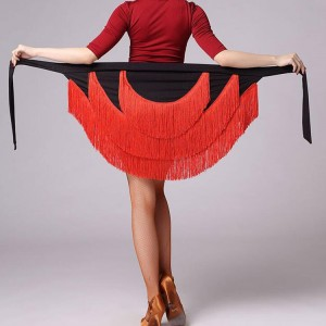 Women's latin skirt wrap hip scarf red royal blue black pink white  rumba salsa chacha samba performance fringes skirt