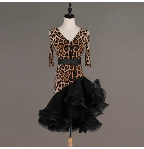 Women's leopard latin dance dresses stage performance salsa rumba chacha dance dresses