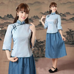 Women's may youth chinese drama cosplay dresses qipao stage performance dress student graduation photography costumes