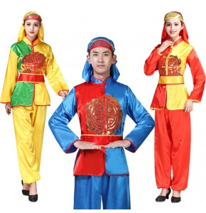 Women's men's chinese folk dance costumes yangko drummer dragon dance china style stage performance costumes tops and pants