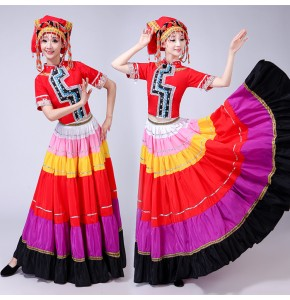 Women's Miao hmong  Yi Minority Chinese folk dance costumes stage performance drama cosplay photography dresses