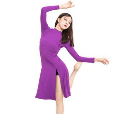 Women's modern dance ballet dance dresses red black navy purple modal cotton yoga fitness sports gymnastics stage performance dresses