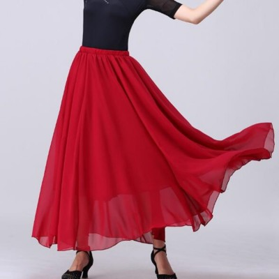 Women's modern dance ballet dance skirts female gymnastics wine black white colored stage performance skirts