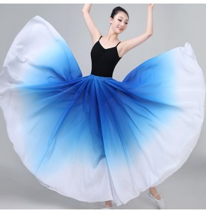 Women's modern dance ballet dance skirts  pink blue black gradient 720 degree hem stage performance competition professional dance skirts