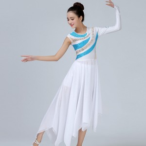 Women's modern dance ballet dresses white turquoise color ballet one sleeves competition ballet dance costumes dresses