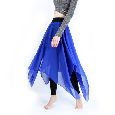 Women's modern dance ballet skirts royal blue black stage performance exercises practice yoga ballet dancing pants skirt