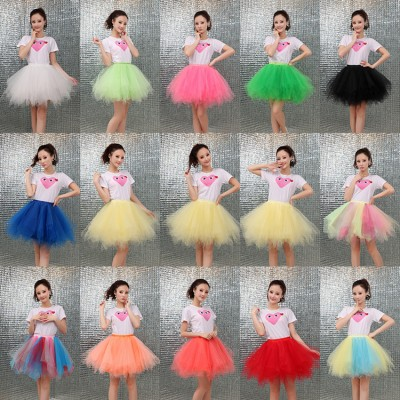 Women's modern dance ballet stage performance skirt for girls model show cosplay tutu skirts candy color photography bridesmaid skirts