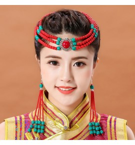 Women's Mongolian Tibetan Dai Dance Performance Handmade Bead Headdress Ethnic Mongolian robe Hair Accessories