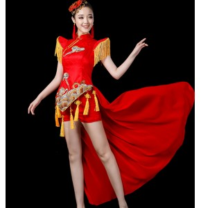 Women's oriental Chinese folk dance red color costumes dragon drummer stage performance photos cosplay dancing dresses cheongsam