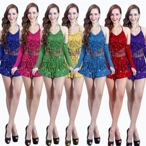 Women's paillette fringes latin dance dresses female red purple green blue modern dance gogo dancers jazz singers cheer leaders stage performance costumes