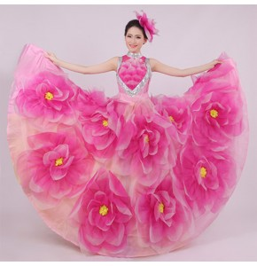 Women's petals flowers flamenco dresses opening dance Spanish bull dance dresses
