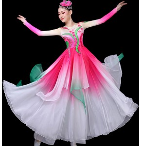 Women's pink colored chinese folk dance costumes hanfu fairy traditional classical dance dresses princess fan umbrella dance dresses