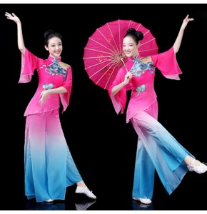 Women's pink with blue colored traditional chinese folk dance costumes ancient yangko fan dance umbrella stage performance dresses