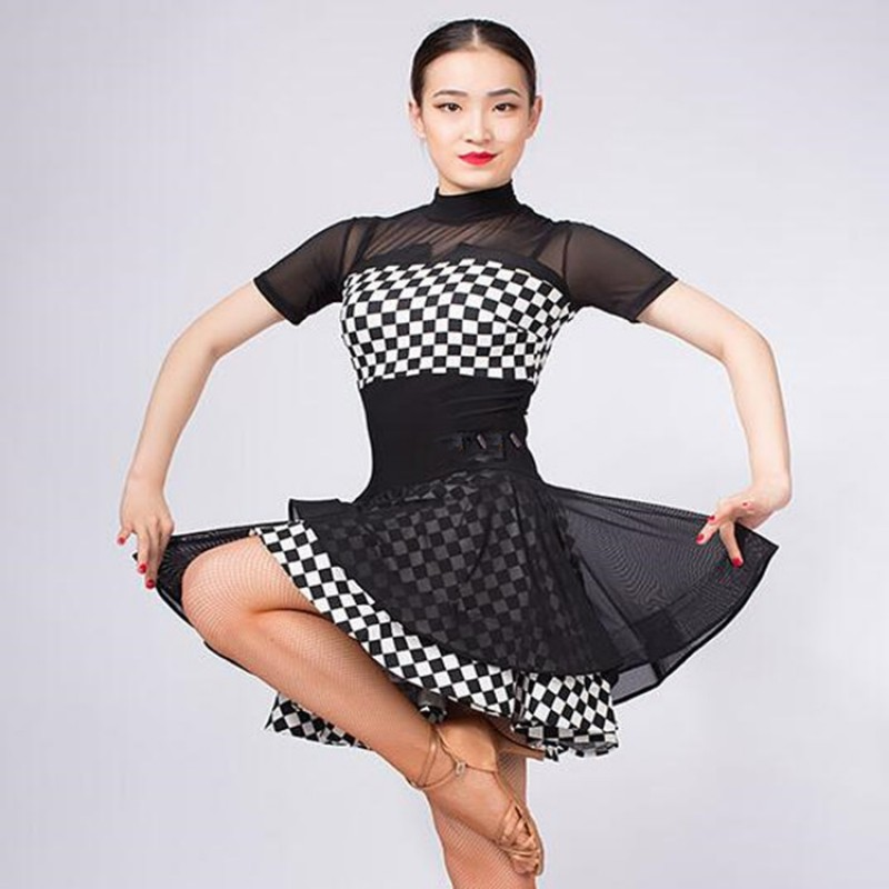 462210c59be5 Women\'s plaid printed latin dresses stage performance professional chacha rumba  dancing costumes