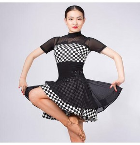 Women's plaid printed latin dresses stage performance professional chacha rumba dancing costumes