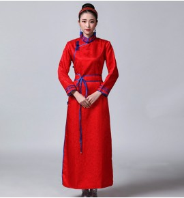 Women's red blue white Mongolian dance dresses gown minority ethnic Mongolian stage performance cosplay robes costumes