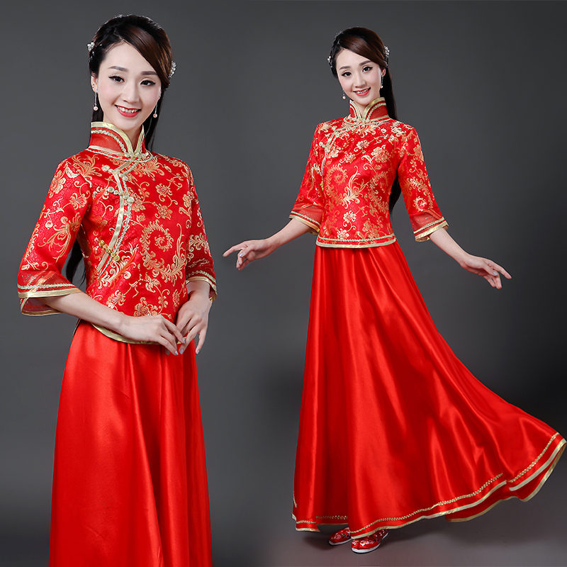 Women's red chinese ancient traditional qipao dress  princess stage performance photos studio drama cosplay dresses
