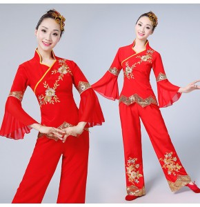 Women's red Chinese folk dance costumes china ancient style competition yangko fan stage performance tops and pants