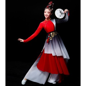 Women's red colored chinese folk dance costumes classical fairy cosplay hanfu dress ancient yangko fan umbrella dance dresses