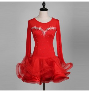 Women's red latin dresses robes de danse latine diamond stones competition stage performance professional rumba chacha samba dresses