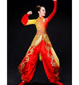 Women's red with gold chinese folk dance costumes dragon dummer performance clothes wushu fan umbrealla dance dress