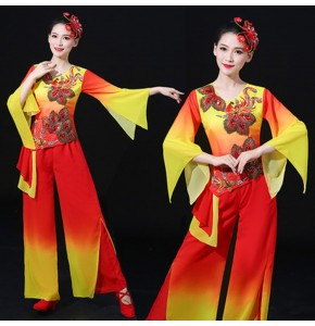 Women's red with yellow chinese folk dance costumes yangko fairy umbrella fan classical traditional dance dresses