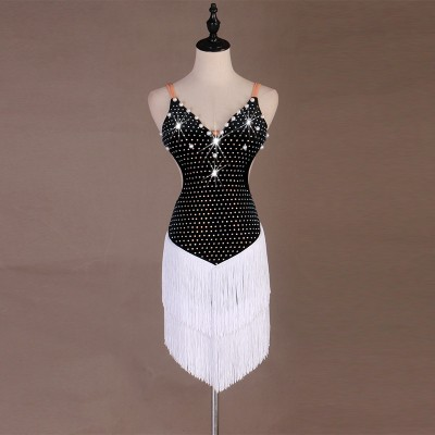 Women's rhinestones beads fringes latin dance dresses competition salsa samba dance dresses