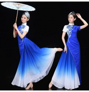Women's royal blue chinese dresses opening chorus dresses traditional classical dance fan umbrella dance qipao dresses