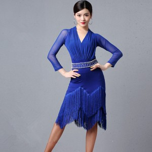 Women's royal blue fringes black competition latin dance dresses salsa samba dance dress