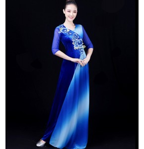 Women's royal blue host singers stage performance evening party dresses modern dance performance long dress