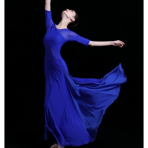 Women's royal blue long length modern dance ballet dress stage performance classical ancient traditional dance dress costumes